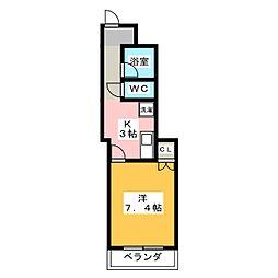 スターハイツONE 4階1Kの間取り