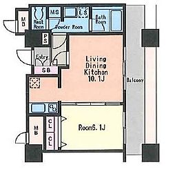 KDXレジデンス大濠ハーパーピュータワー[13階]の間取り