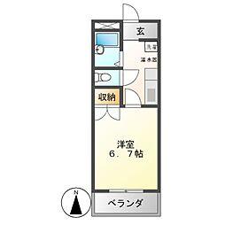 スターハイツONE 3階1Kの間取り