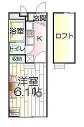 神奈川県横須賀市舟倉1丁目の賃貸アパートの間取り