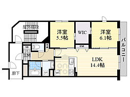 Osaka Metro今里筋線 新森古市駅 徒歩3分の賃貸マンション 4階2LDKの間取り