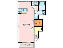 三重県松阪市鎌田町の賃貸アパートの間取り