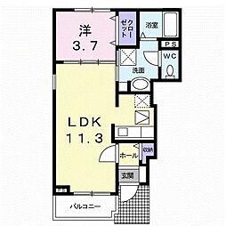 西鉄天神大牟田線 西鉄小郡駅 徒歩13分の賃貸アパート 1階1LDKの間取り