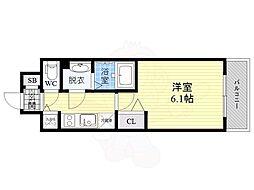 スワンズシティ大阪城ノース 6階1Kの間取り