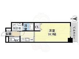 名古屋市営東山線 岩塚駅 徒歩9分の賃貸マンション 3階1Kの間取り