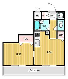 ニューシティーマンション 3階1LDKの間取り