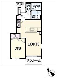 ブリリアント寺家III[1階]の間取り