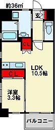 PROTO CITY 戸畑 3階1LDKの間取り