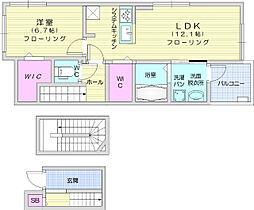 JR東北本線 南仙台駅 徒歩26分の賃貸アパート 1階1LDKの間取り
