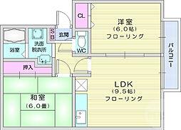 ガーデンホームズ柴田3番館 2階2LDKの間取り