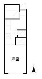 福寿荘 2階ワンルームの間取り