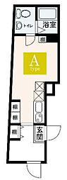 JR山手線 大塚駅 徒歩5分の賃貸マンション 2階ワンルームの間取り