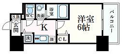 ファステート神戸アモーレ 8階1Kの間取り