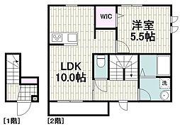 横浜市営地下鉄ブルーライン 中川駅 徒歩10分の賃貸マンション 2階1LDKの間取り