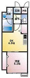 (仮)東古松4丁目マンション 3階1DKの間取り