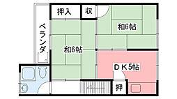 市松荘[205号室]の間取り