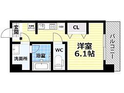 Osaka Metro四つ橋線 肥後橋駅 徒歩5分の賃貸マンション 4階1Kの間取り