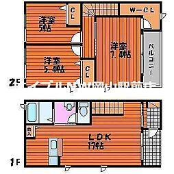 [テラスハウス] 岡山県岡山市中区湊丁目なし の賃貸【/】の間取り