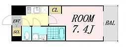 サムティ福島Rufle 6階1Kの間取り
