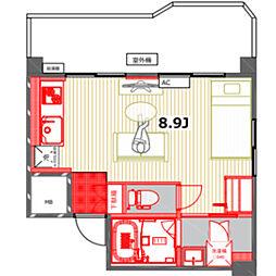 コーポモントレー 3階ワンルームの間取り