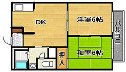 タウニィーイシヅ[203号室]の間取り
