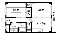 兵庫県西宮市荒木町の賃貸マンションの間取り