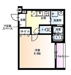 フジパレス瑞光駅東 3階1Kの間取り