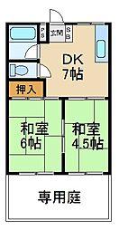 大阪府枚方市南中振1丁目の賃貸マンションの間取り