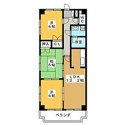 アムール・河田[4階]の間取り