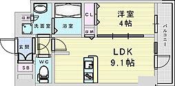 Osaka Metro御堂筋線 新大阪駅 徒歩8分の賃貸マンション 6階1LDKの間取り