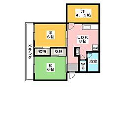 サニーハイツ[1階]の間取り