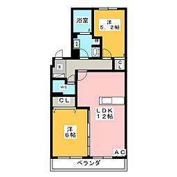 クラウン杉本A[4階]の間取り