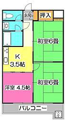 埼玉県所沢市東新井町の賃貸マンションの間取り