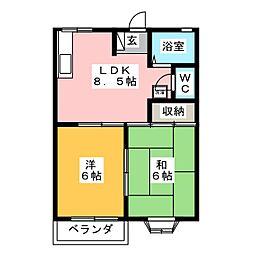 サンハイツシャローム[2階]の間取り
