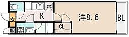 大阪府東大阪市金岡4丁目の賃貸アパートの間取り
