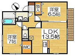 大阪府堺市西区上野芝向ケ丘町4丁の賃貸アパートの間取り