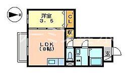 セントラルグレイスA[2階]の間取り