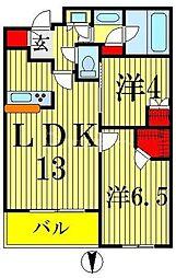 JR総武本線 錦糸町駅 徒歩5分の賃貸マンション 6階2LDKの間取り