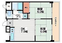 ミツルプラザ[6階]の間取り