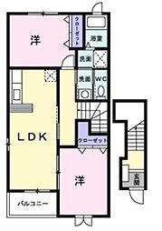 兵庫県神戸市西区押部谷町木幡の賃貸アパートの間取り