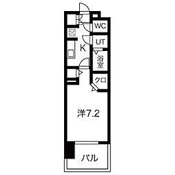 パルティール黒川アネックス 13階1Kの間取り