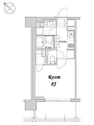 都営浅草線 人形町駅 徒歩12分の賃貸マンション 6階1Kの間取り