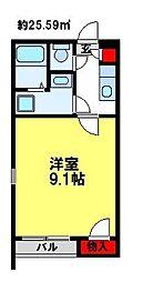 クレイノカサブランカ壱番館 2階1Kの間取り