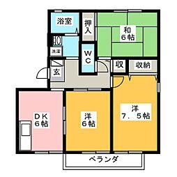 ハートホーム山本 A棟[3階]の間取り