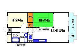おおさか東線 南吹田駅 徒歩8分の賃貸マンション 4階2LDKの間取り