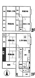 [一戸建] 兵庫県姫路市余部区上余部 の賃貸【/】の間取り