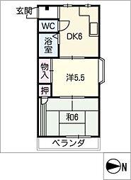 ファミリーマンション鈴[3階]の間取り