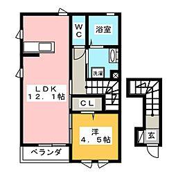 アンソレイエ 2階1LDKの間取り