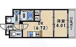 阪神本線 西宮駅 徒歩8分の賃貸マンション 2階1DKの間取り