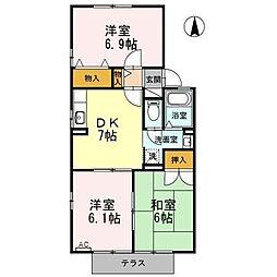 愛知県あま市本郷三反地の賃貸アパートの間取り